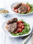 BBQ beef patties with tomato salad