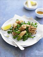 Salt and Pepper Squid on Watercress and Sesame Salad